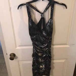 Black and silver homecoming/snow coming dress